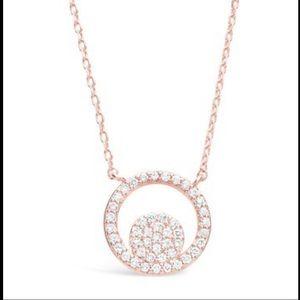 Sterling Forever 14K Rose Gold CZ Circle Necklace